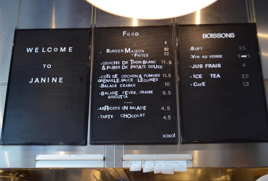 Janine menu
